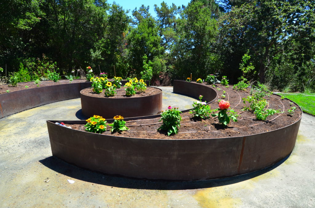 Image of contemporary rusted steel raised bed garden