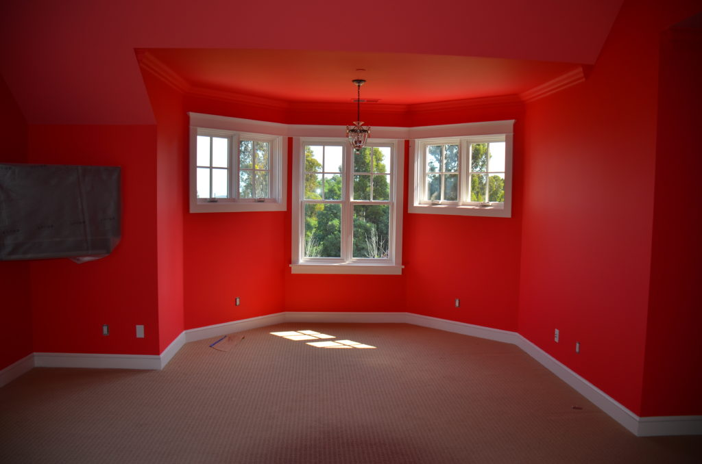 Image of room with bright red paint