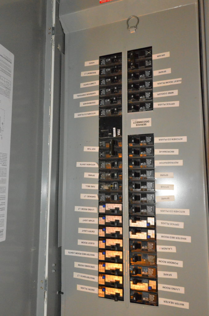 image of electrical distribution panels with labeled breakers