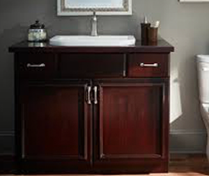 Furniture style vanity cabinet with porcelain sink