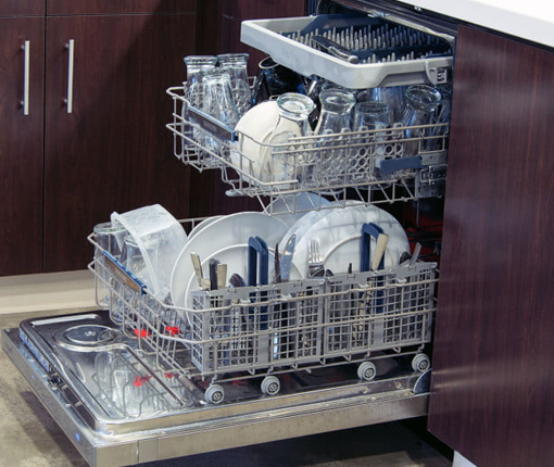 Image of an open and full loaded dishwashers
