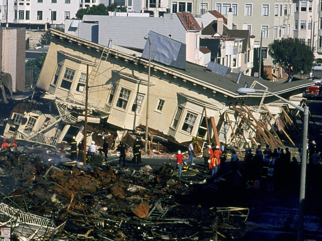 Image of collapsed apartment during 1989 San Francisco earthquake