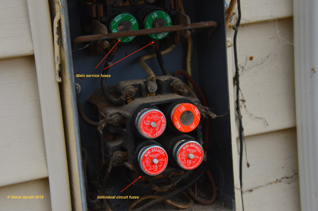 image of an older fuse box with resettable fuses