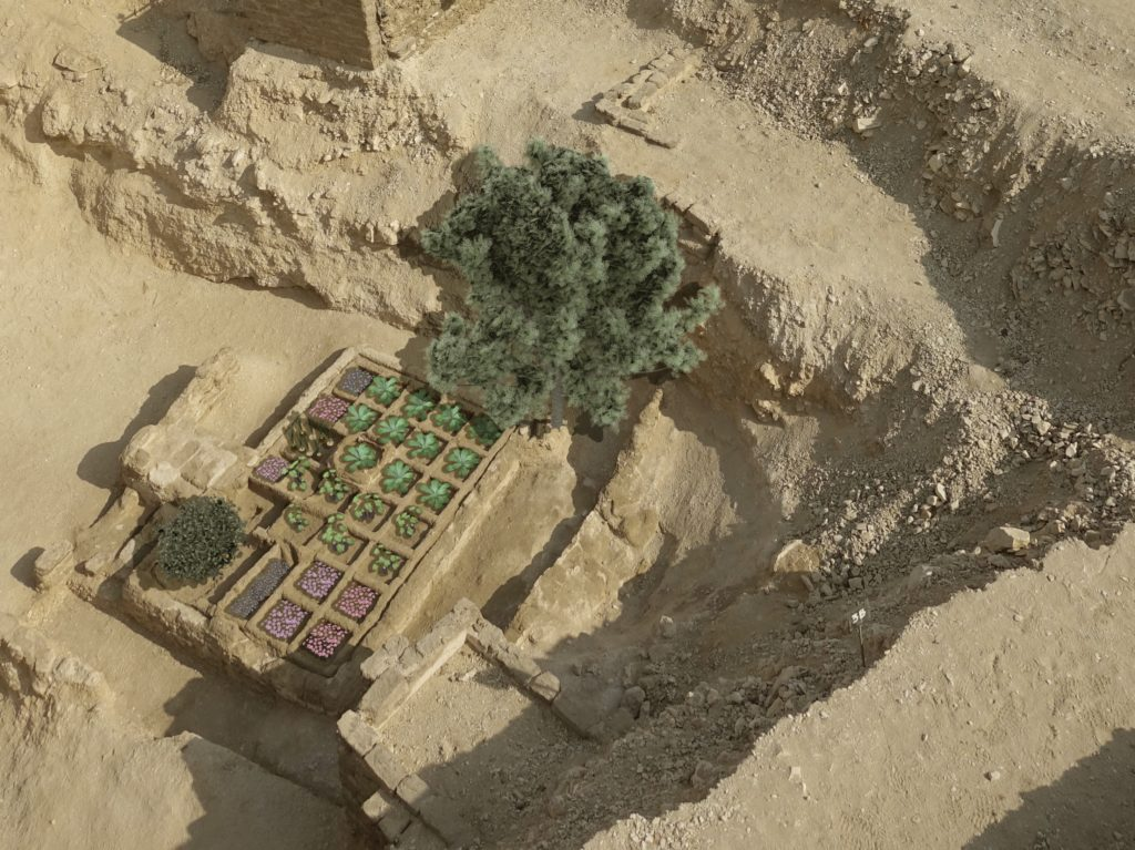 Image of symmetrical garden and tree planting in anciient Egypt