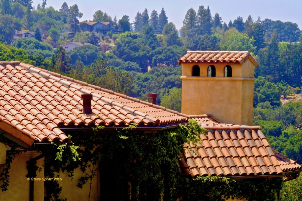Image of nice Spanish tile roofing with nice view