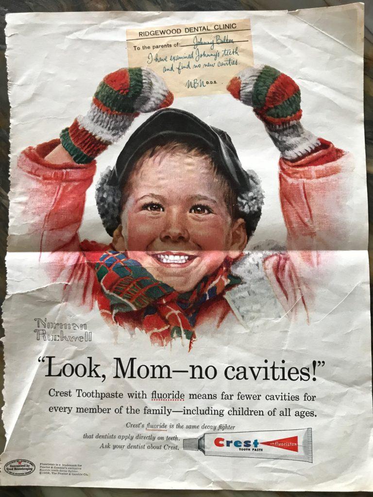 image of an old Crest toothpaste ad touting fluoride