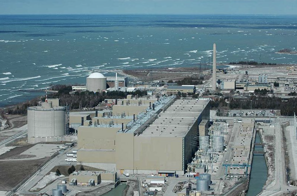 Image from the air of an electricity generation plant by the sea