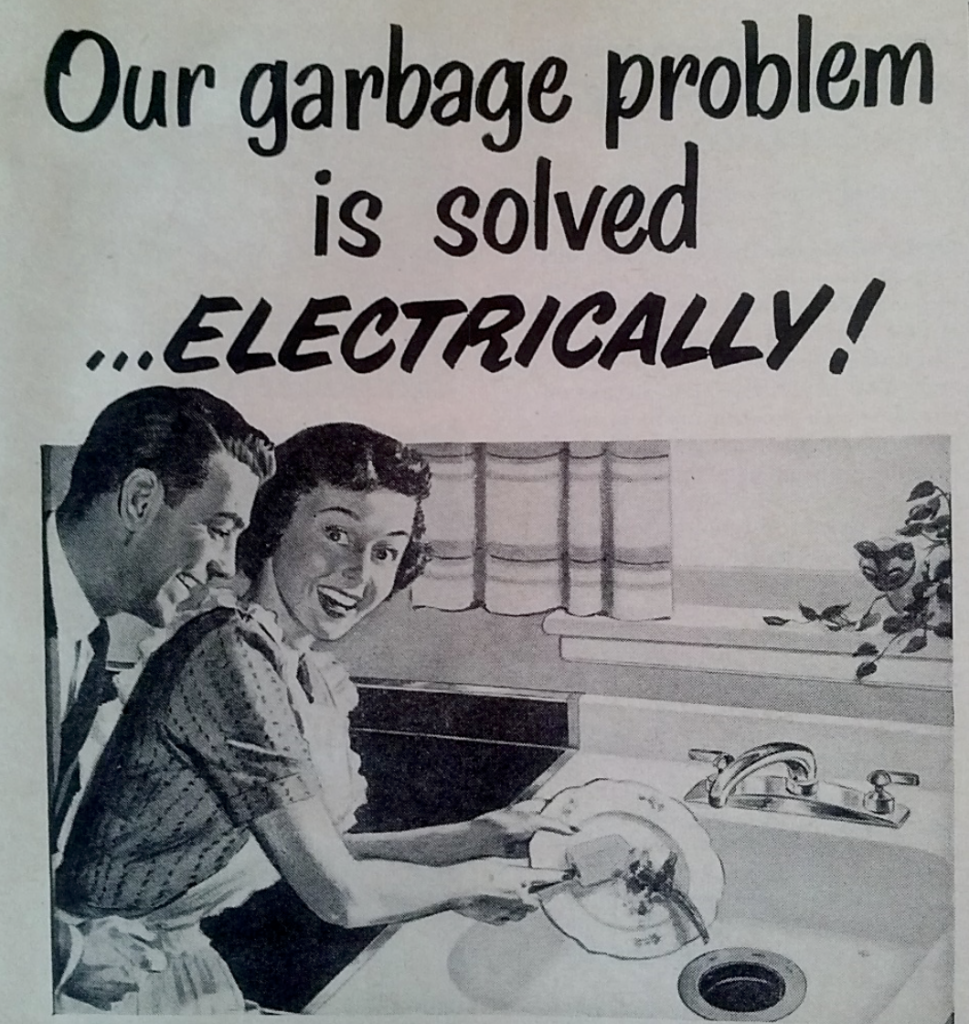 image showing a vintage ad for garbage disposals