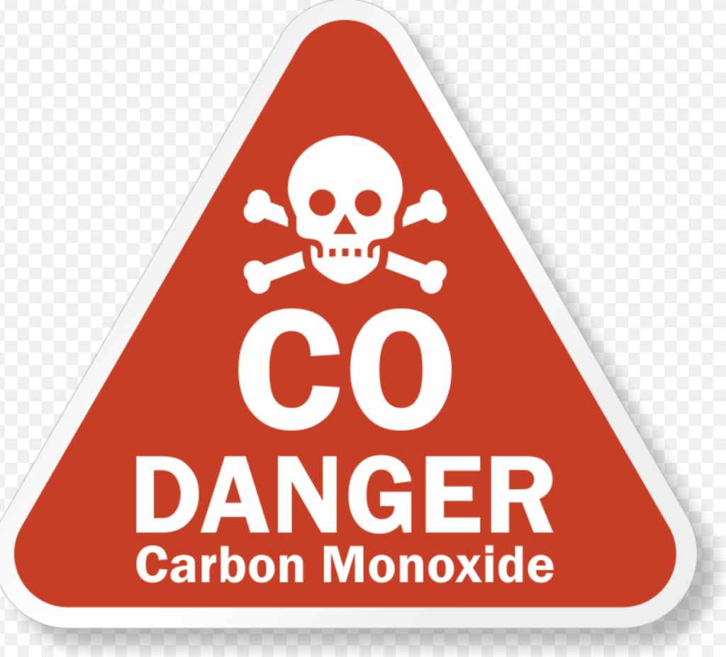 Image of a red triangle with the words CO Danger, carbon monoxide