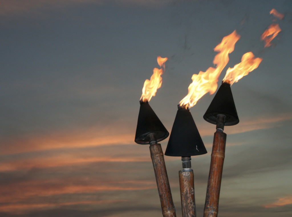 Image of garden tiki torches with flames at night sky