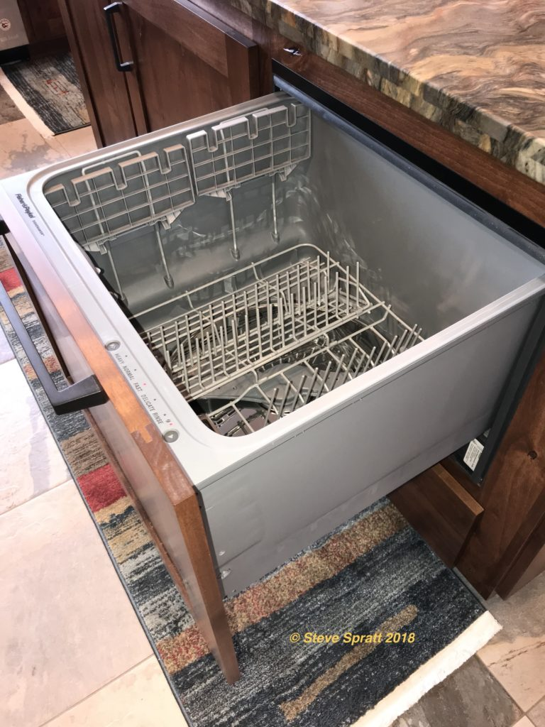 Image of drawer-type dishwasher open with view of interior