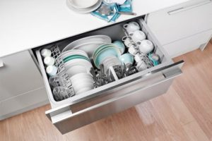 Image of an open drawer-type dishwasher
