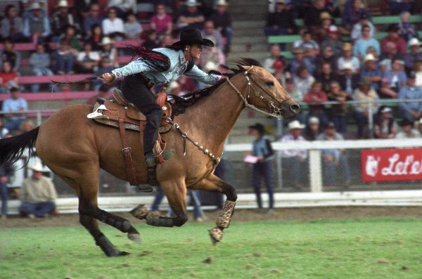 Image of Italy Spratt riding her horse at Pendleton Rodeo