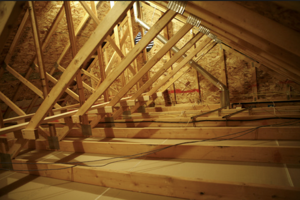 Image of an uninsulated attics framing