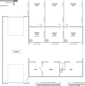 Floor plan for three stall barn with RV parking