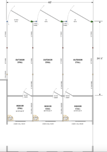 Floor plan of barn stalls with exterior runs